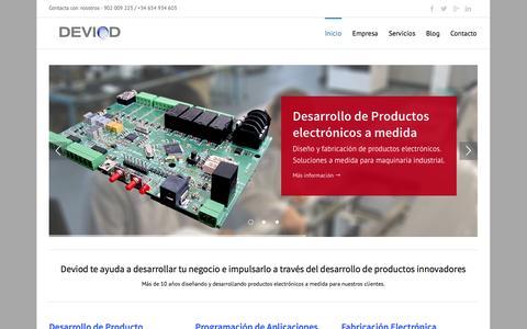 Screenshot of Home Page deviod.com - Diseño y desarrollo de productos electrónicos - captured Oct. 5, 2014