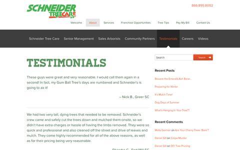 Screenshot of Testimonials Page schneidertree.com - Testimonials - Schneider Tree Care - captured Feb. 4, 2016