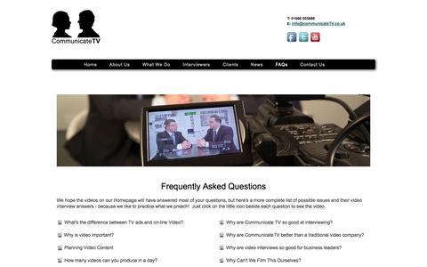 Screenshot of FAQ Page communicatetv.co.uk - Communicate TV - captured Sept. 30, 2014