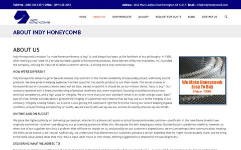 Screenshot of About Page indyhoneycomb.com - About Indy Honeycomb | Seals-Panels-EMI and RF Shielding - captured Nov. 6, 2018