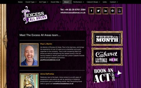Screenshot of Team Page excessallareas.co.uk - Entertainment Agency | Book Acts | Hire Performers - captured Sept. 30, 2014