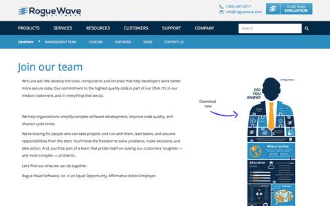 Screenshot of Jobs Page roguewave.com - Join our team   Rogue Wave Software - captured March 9, 2018