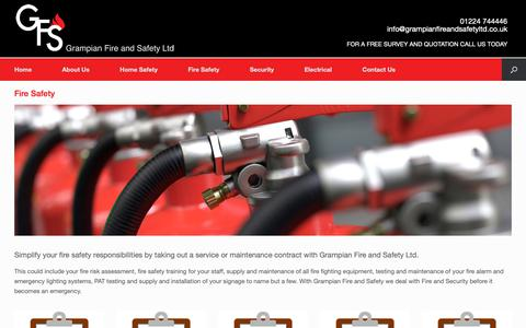 Screenshot of Services Page grampianfireandsafetyltd.co.uk - Fire Safety | Grampian Fire and Safety | Security, Electrical and Fire Safety in Aberdeen - captured Dec. 8, 2018