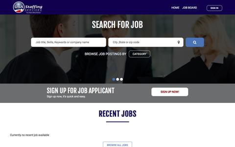 Screenshot of Jobs Page usastaffingservices.com - USA staffing | Home - captured July 26, 2018