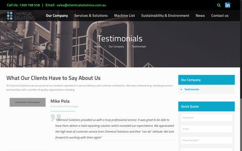 Screenshot of Testimonials Page chemicalsolutions.com.au - Client Testimonials About Their Experiences with Chemical Solutions - captured May 12, 2017