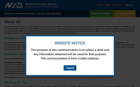 Screenshot of About Page nationalrecovery.com - About Us | NRA – National Recovery Agency - captured Oct. 20, 2018