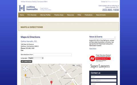 Screenshot of Maps & Directions Page chgjtlaw.com - Maps & Directions | Danbury, Connecticut Law Firm | Collins Hannafin, P.C. - captured Oct. 3, 2014