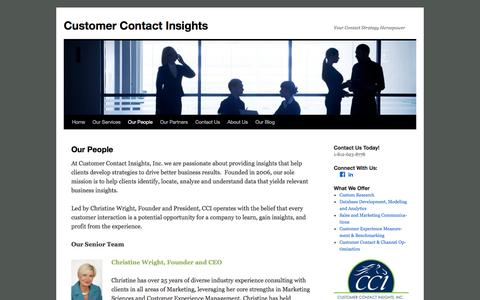 Screenshot of Team Page ccicrm.com - Our People | Customer Contact Insights - captured Nov. 14, 2016