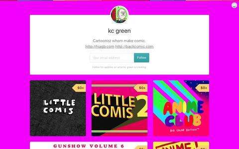 Screenshot of gumroad.com - kc green on Gumroad - captured Aug. 17, 2016