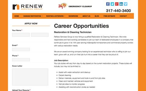 Screenshot of Jobs Page renewservices.com - Careers and Job Postings at ReNew Services Inc. - captured Dec. 16, 2016