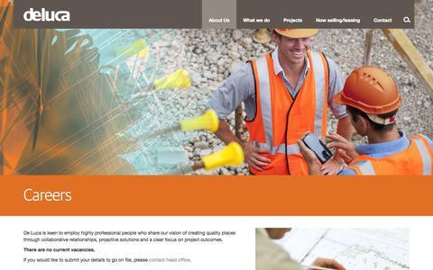 Screenshot of Jobs Page deluca.com.au - Careers - De Luca - captured Sept. 30, 2014