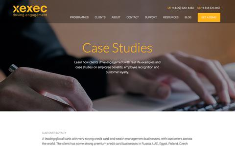 Screenshot of Case Studies Page xexec.com - Our Employee Benefits & Customer Engagement Case Studies - captured July 8, 2019