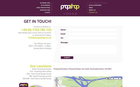 Screenshot of Contact Page propshop.co.uk - Contact us - Propshop telephone number, email address, opening hours. - captured Sept. 30, 2014
