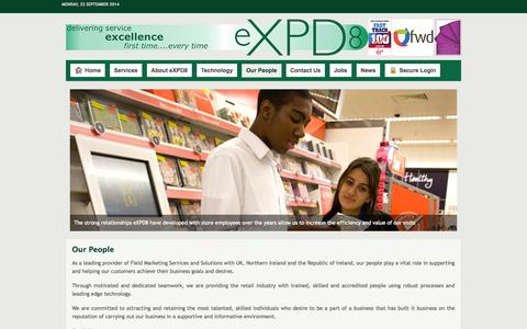 Screenshot of Team Page expd8.co.uk - Our People - eXPD8 Field Marketing - captured Sept. 23, 2014