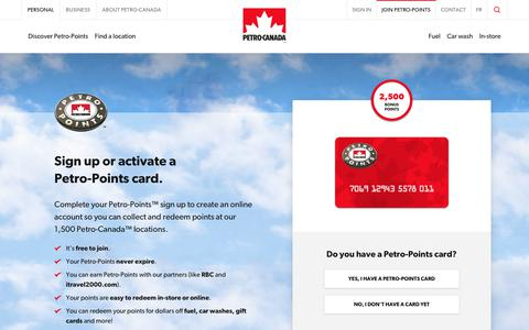 Screenshot of Signup Page petro-canada.ca - Petro-Points Sign Up - Activate Petro-Points Card | Petro-Canada - captured Jan. 23, 2019