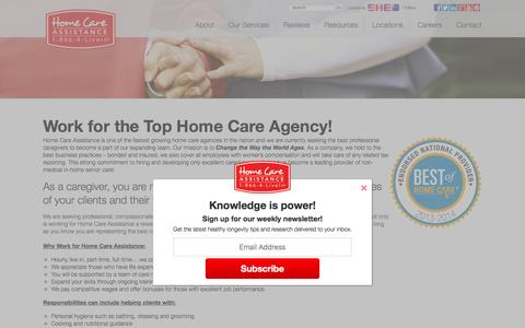 Screenshot of Jobs Page homecareassistance.com - Come work for the best! | Home Care Assistance - captured Feb. 10, 2016