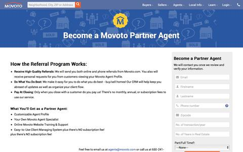 Screenshot of Signup Page movoto.com - Become a Partner Agent - Movoto - captured Jan. 14, 2016