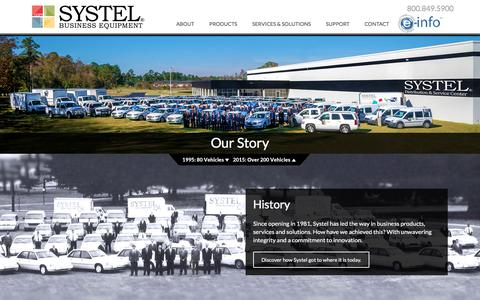 Screenshot of About Page systeloa.com - Our Story   Systel Business Equipment - captured Oct. 24, 2017