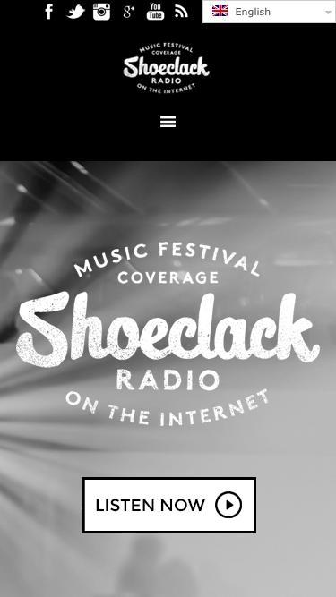 Screenshot of Home Page  shoeclack.com - Shoeclack Radio | Music Festival Coverage