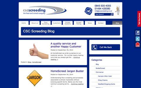 Screenshot of Blog cscscreeding.co.uk - Floor Screeding Blog - CSC Screeding - captured Oct. 1, 2014