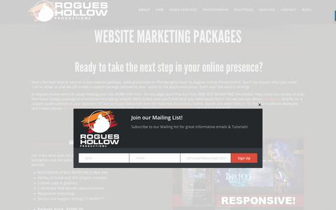 Screenshot of Pricing Page rogueshollow.com - Website Creation & Marketing packages by Rogues Hollow Productions - captured Nov. 4, 2017