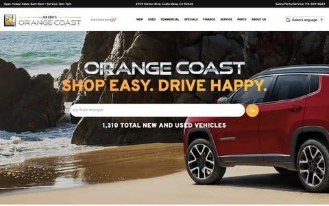 Screenshot of Home Page ocauto.com - Orange Coast | Chrysler, Dodge, Jeep, Ram Dealer in Costa Mesa, CA - captured Oct. 19, 2018