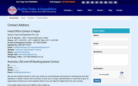 Screenshot of Contact Page skylinetreks.com - Contact Address - Trekking Agency in Nepal - captured Oct. 21, 2017