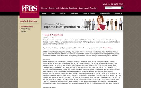 Screenshot of Terms Page hrbs.com.au - Terms & Conditions – HR Business Solutions - HR Consultants | Human Resources Training | Hr Advice | Performance Management, Brisbane - captured Oct. 1, 2014