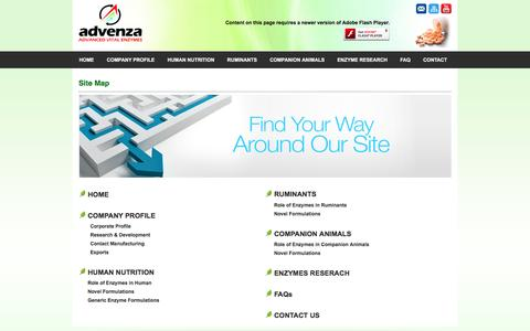 Screenshot of Site Map Page vitalenzymes.com - Advenza - Advanced Vital Enzymes - captured Nov. 19, 2016