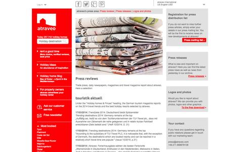 Screenshot of Press Page atraveo.com - Press reviews: That is what trade press is reporting about atraveo - captured Sept. 24, 2014