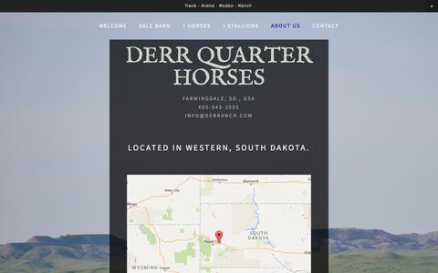 Screenshot of About Page derranch.com - About Us — DERR QUARTER HORSES - captured June 13, 2016