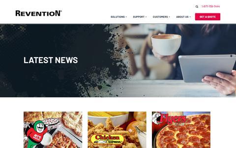 Screenshot of Press Page revention.com - News   Revention POS - captured Feb. 8, 2019