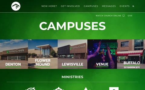 Screenshot of Locations Page valleycreek.org - Valley Creek Church |   Campuses - captured Dec. 20, 2018