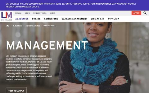 Screenshot of Team Page limcollege.edu - Management Programs   Management   LIM College - captured July 3, 2016