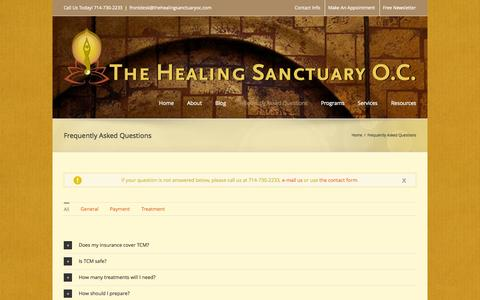 Screenshot of FAQ Page thehealingsanctuaryoc.com - The Healing Sanctuary   –  Frequently Asked Questions - captured Oct. 26, 2014