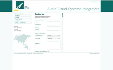 Screenshot of Contact Page totalconceptprojects.com - Total Concept Projects - Audio Visual Systems Integrators - Contact Us - captured Oct. 7, 2014