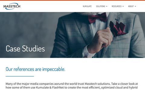 Screenshot of Case Studies Page masstech.com - Case Studies – Masstech   storage management solutions   media workflow tools - captured Feb. 20, 2020