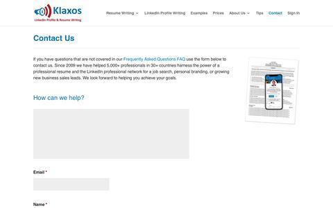 Screenshot of Contact Page klaxos.com - Contact Klaxos - captured Nov. 30, 2019