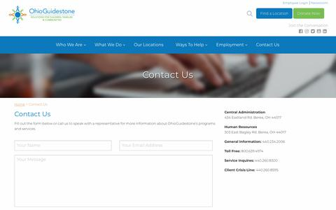 Screenshot of Contact Page ohioguidestone.org - Contact Us - OhioGuidestone - captured Aug. 1, 2018