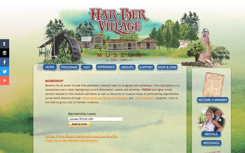 Screenshot of Support Page har-bervillage.com - Support Through Membership, Sponsorship, Gifts And Volunteering - Har-ber Village Museum - captured June 3, 2016