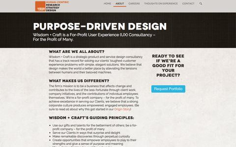Screenshot of About Page wisdomandcraft.com - Wisdom + Craft's Mission, Values, and Guiding Principles - captured Oct. 26, 2014