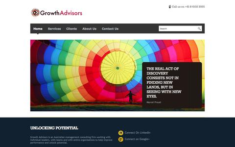Screenshot of Home Page growthadvisors.com.au - Growth Advisors - Australia growth strategy business consulting - captured Oct. 2, 2015