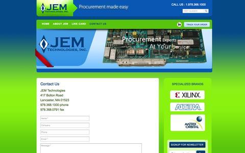 Screenshot of Contact Page jemtechnologies.com - Contact Us - JEM Technologies : JEM Technologies - captured Oct. 4, 2014