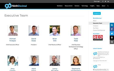 Screenshot of Team Page ninthdecimal.com - NinthDecimal's Executive Team - captured March 22, 2018