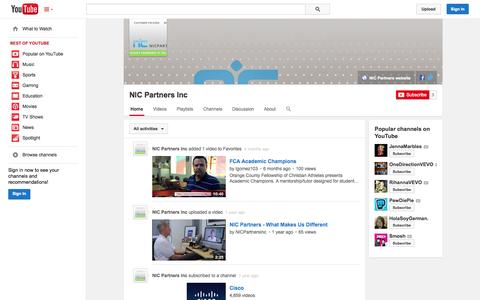 Screenshot of YouTube Page youtube.com - NIC Partners Inc  - YouTube - captured Oct. 26, 2014