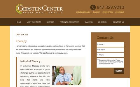 Screenshot of Services Page gerstencenter.com - Online Therapy | Behavioral Therapy Chicago IL | Evanston IL - captured Oct. 2, 2014