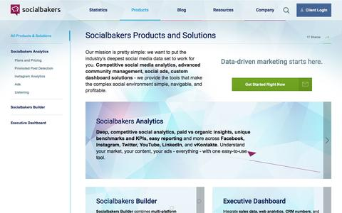 Screenshot of Products Page socialbakers.com - Best Social Media Marketing for Business | Socialbakers - captured March 5, 2016