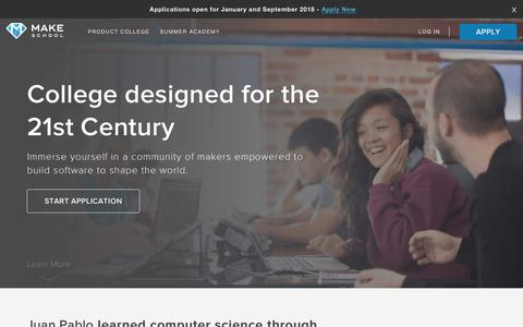 Screenshot of Home Page makeschool.com - A Community for Computer Science Education | Make School - captured Dec. 4, 2017