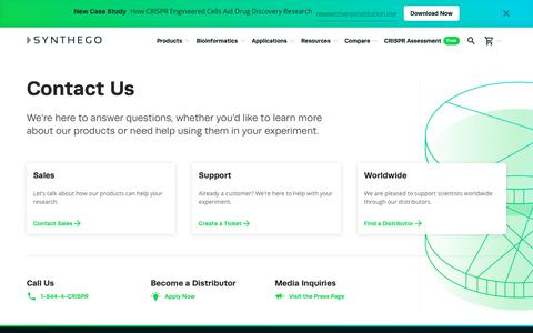 Screenshot of Contact Page synthego.com - Contact - captured Feb. 19, 2020