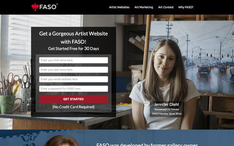 Screenshot of Landing Page faso.com - Artist Websites - captured March 15, 2016